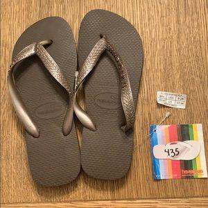 Havaianas, 35-36, dark brown, wide strap, new